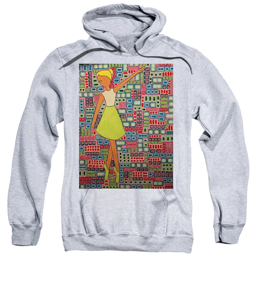 Ballerina Sweatshirt featuring the painting Cranberry Ballet by Donna Howard