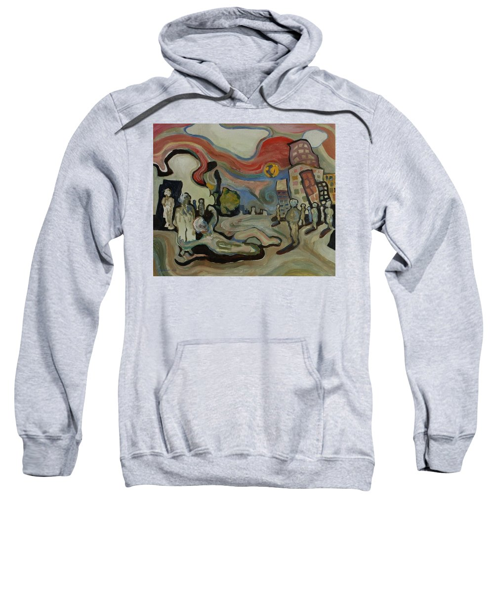 Cityscape Sweatshirt featuring the painting Crazy Moon by John A B Lansdown