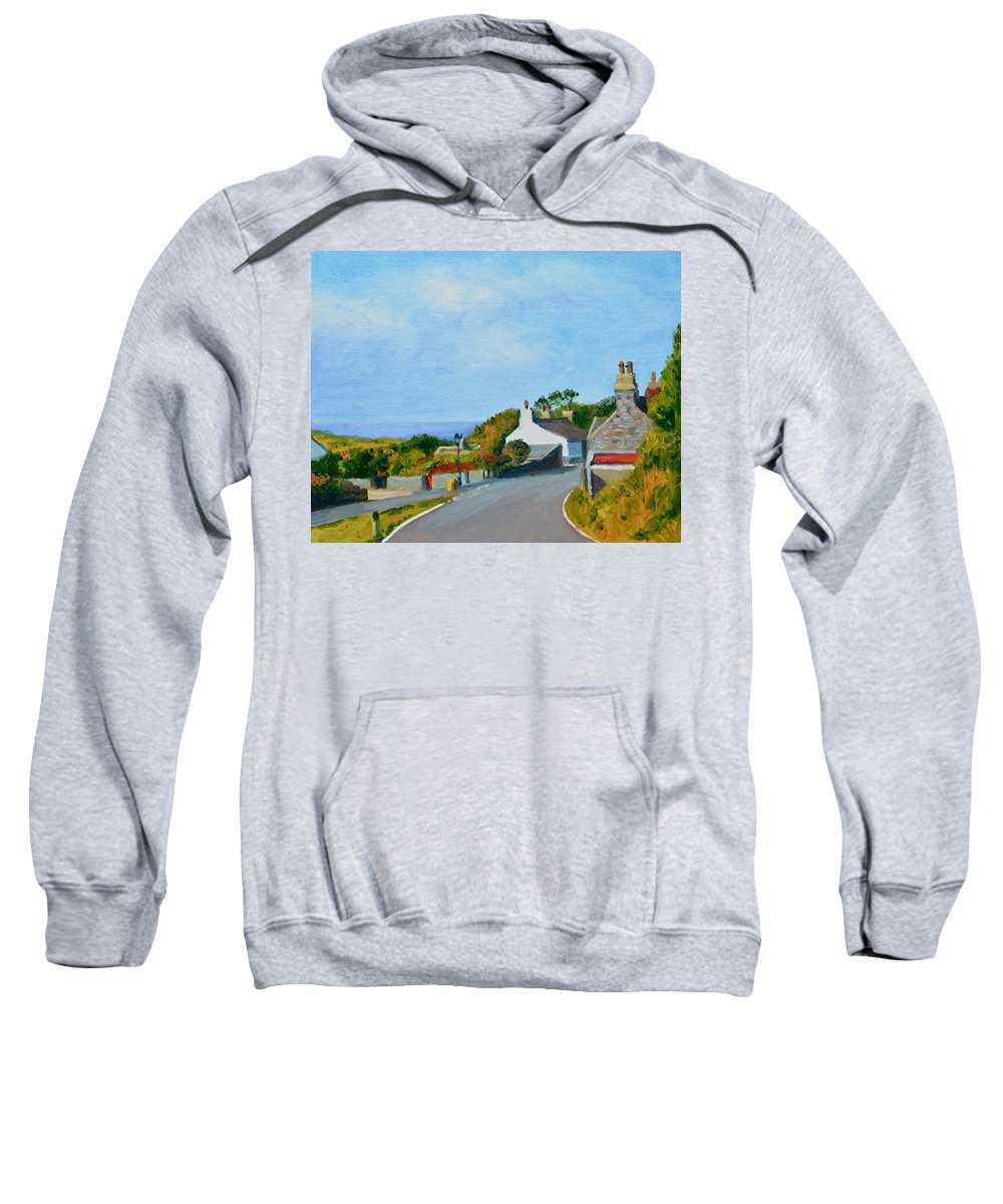Heritage Sweatshirt featuring the painting Cregneash Heritage Village Isle Of Man by Dai Wynn