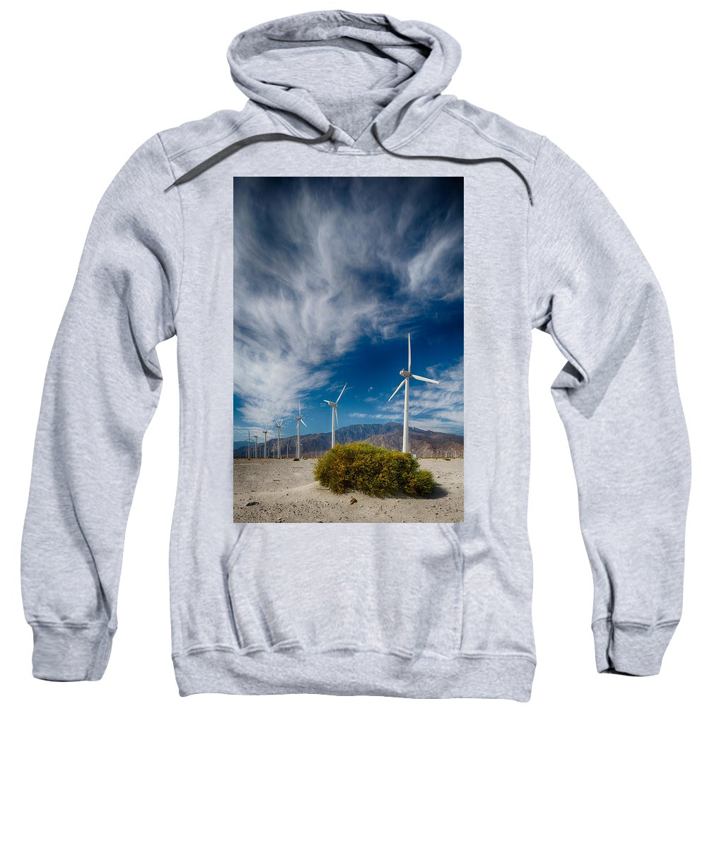 Wind Turbine Sweatshirt featuring the photograph Creosote And Wind Turbines by Scott Campbell