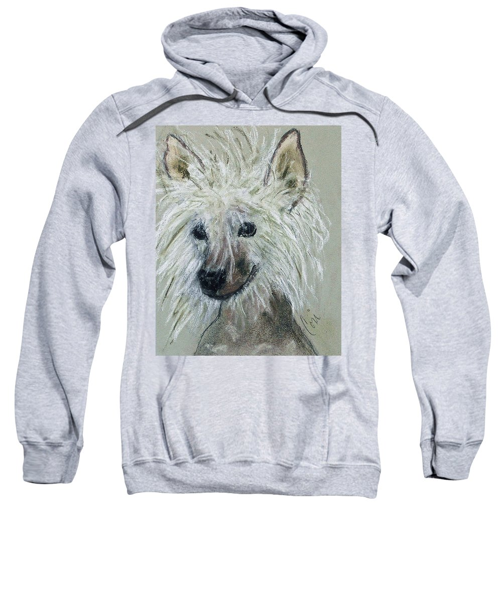 Chinese Crested Sweatshirt featuring the drawing Crested Star by Cori Solomon