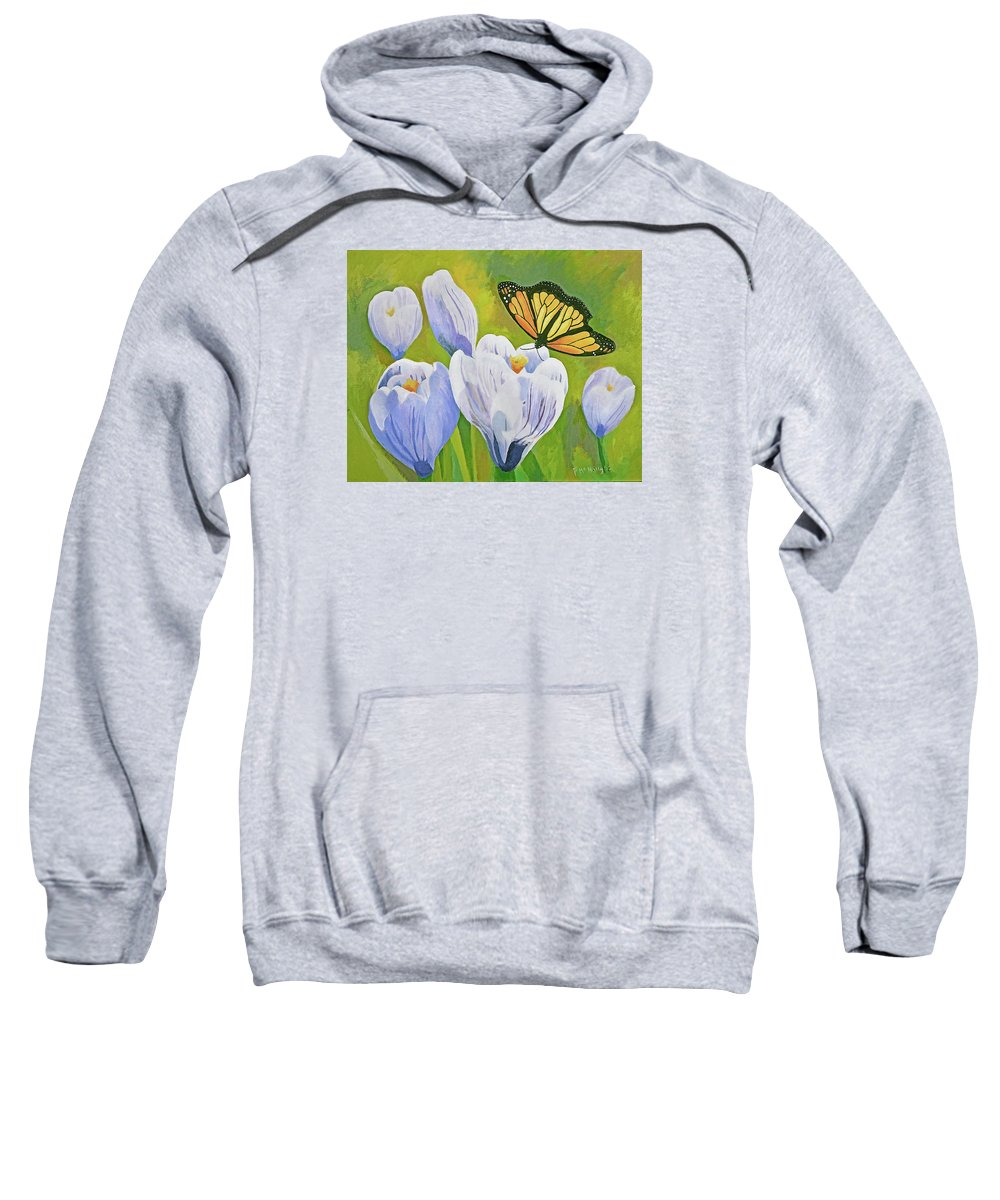 Monarch Sweatshirt featuring the painting Crocus And Monarch Butterfly by Susan McNally