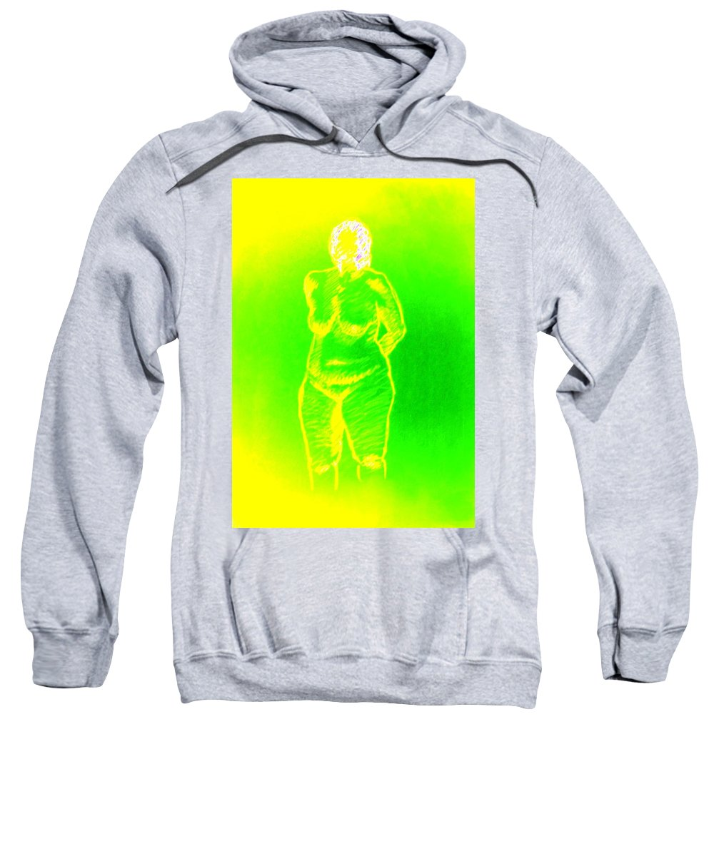 Genio Sweatshirt featuring the mixed media Croquis In Yellow And Green by Genio GgXpress