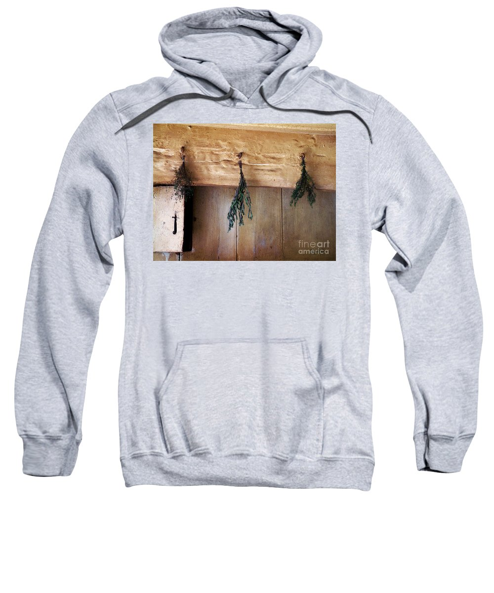 Herbs Sweatshirt featuring the painting Crossbeam With Herbs Drying by RC DeWinter