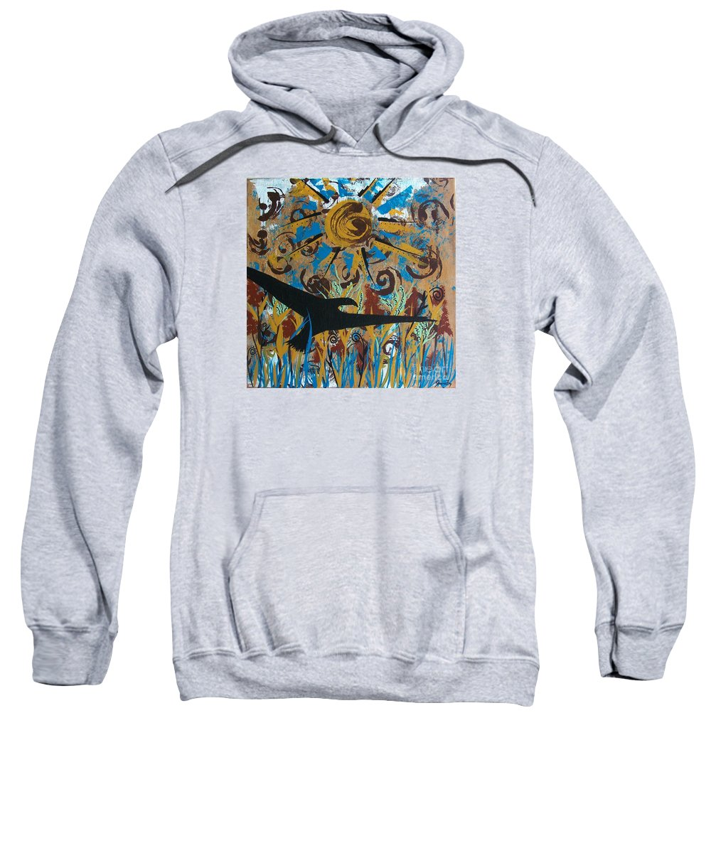 Crow Sweatshirt featuring the painting Crow Carrying Sun Medicine by Jean Fry