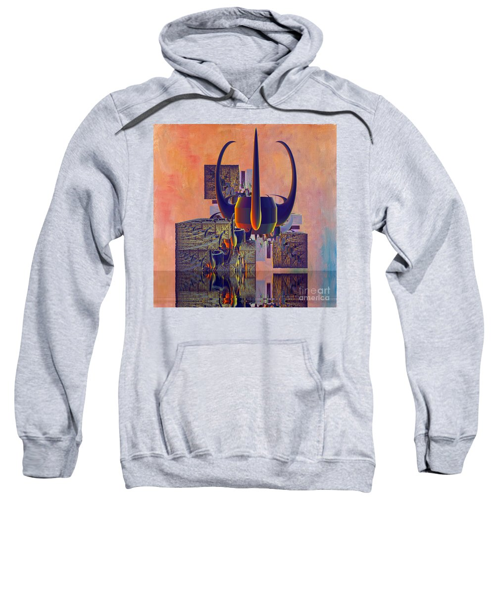 Digital Crown Sweatshirt featuring the digital art Crown 127 by Deborah Benoit