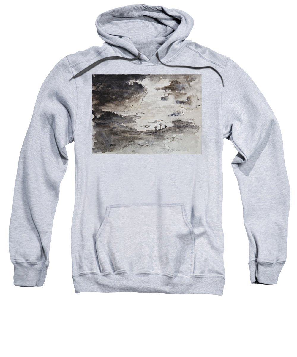 Crucifixtion Sweatshirt featuring the painting Crucifixtion by Rachel Christine Nowicki