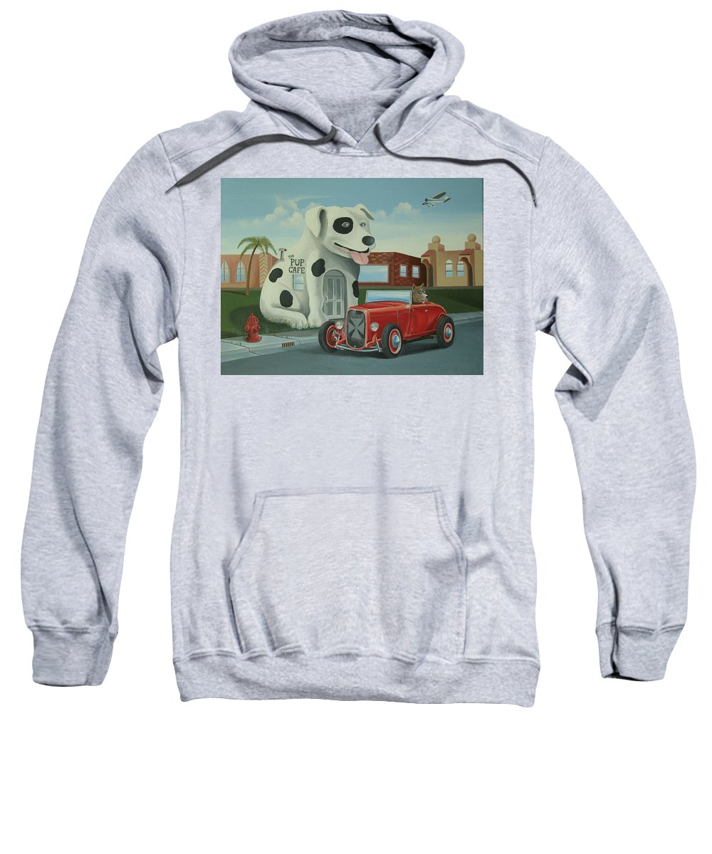 Hotrod Sweatshirt featuring the painting Cruisin' At The Pup Cafe by Stuart Swartz