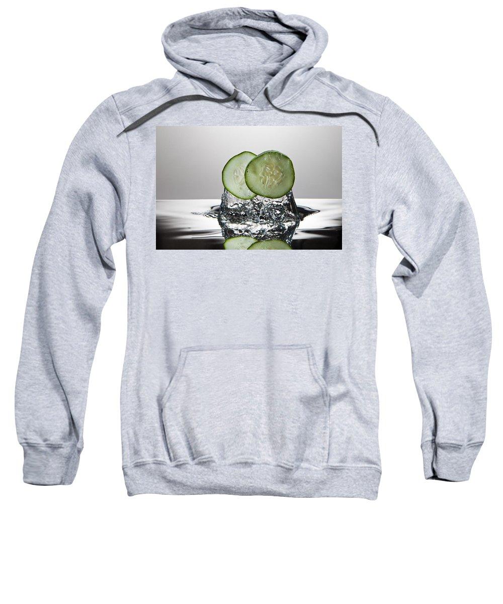 Cucumber Sweatshirt featuring the photograph Cucumber Freshsplash by Steve Gadomski
