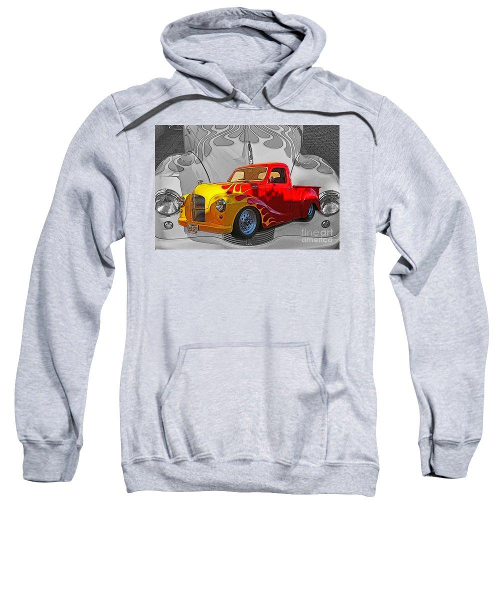 Trucks Sweatshirt featuring the photograph Custom Flames by Randy Harris