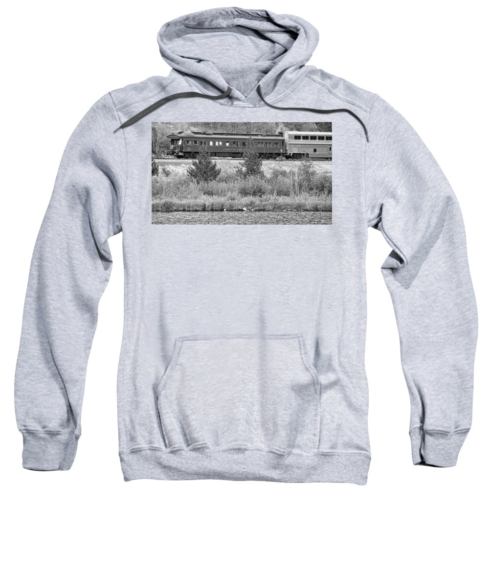 Cyrus K. Holliday Private Rail Car Sweatshirt featuring the photograph Cyrus K Holliday Private Rail Car Bw by James BO Insogna