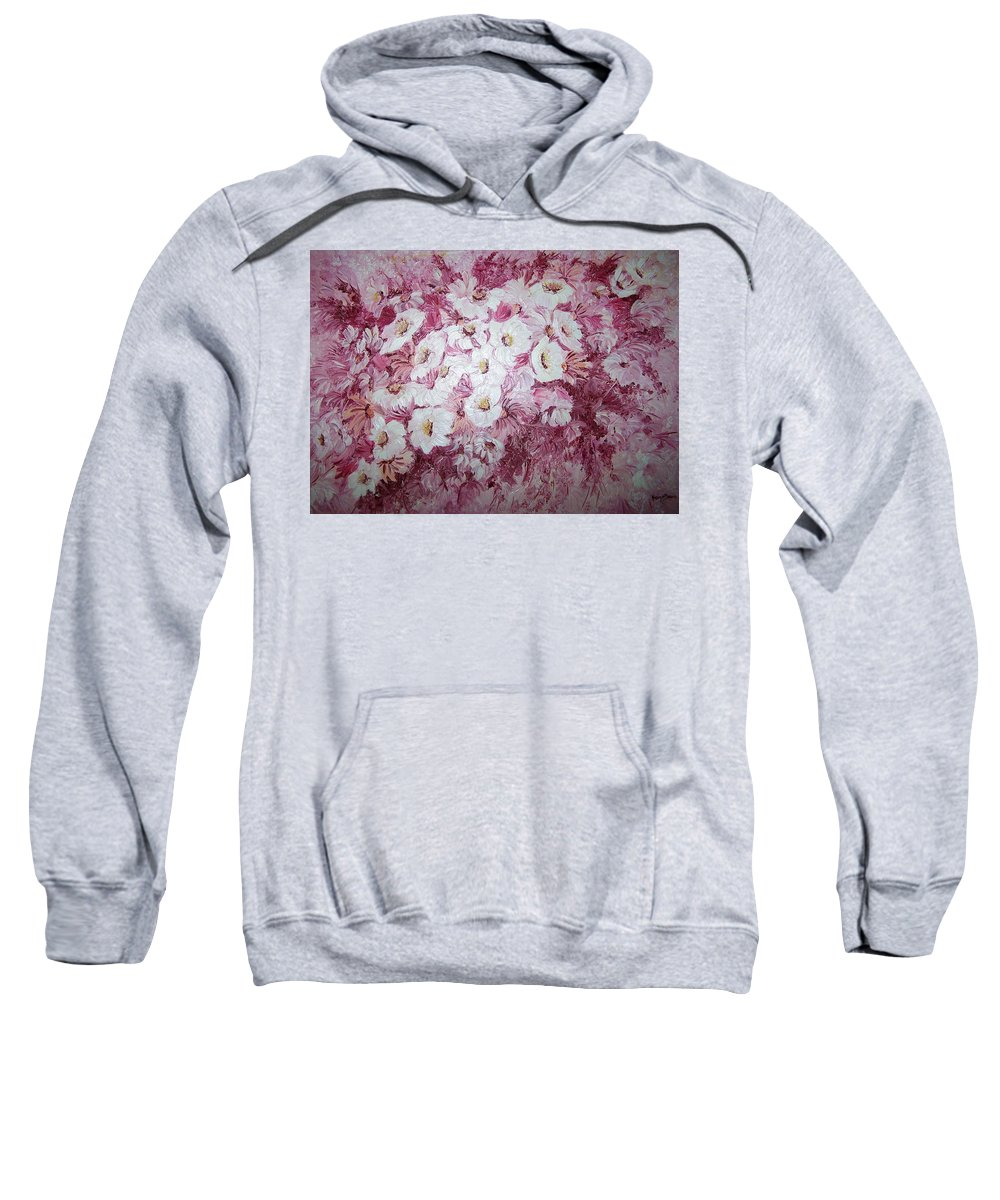 Sweatshirt featuring the painting Daisy Blush by Karin Dawn Kelshall- Best