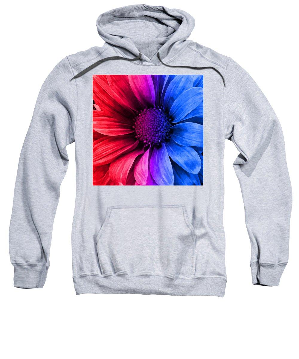 Daisy Sweatshirt featuring the mixed media Daisy Daisy Red To Blue by Angelina Tamez