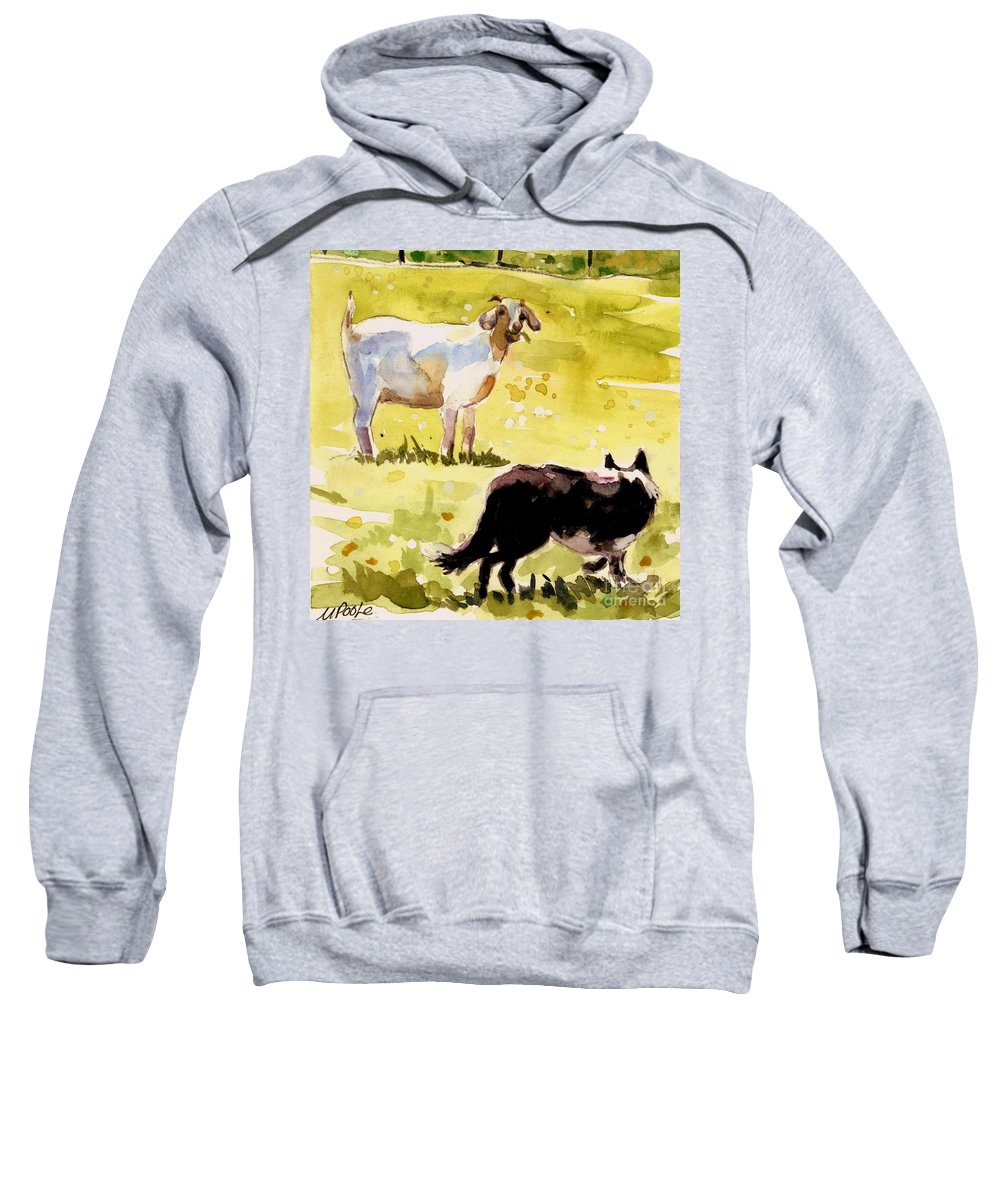 Goat Sweatshirt featuring the painting Dandelion Greens by Molly Poole