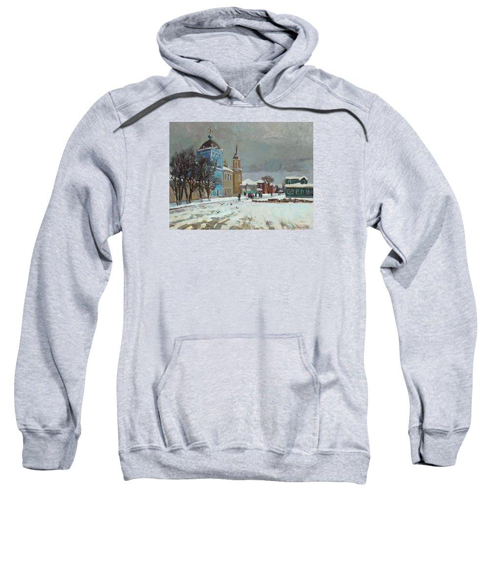 Kolomna Sweatshirt featuring the painting Day Of Snow by Juliya Zhukova