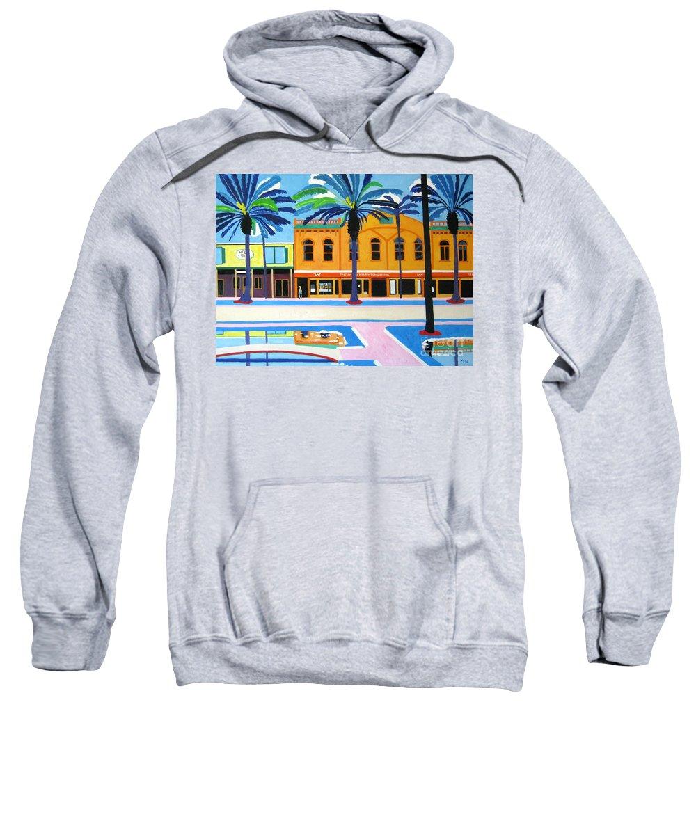 Irish Sweatshirt featuring the painting Mckays Irish Pub Daytona Florida by Lesley Giles