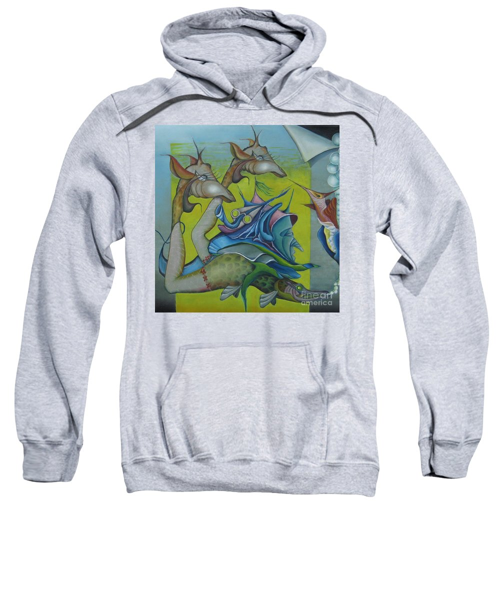 Animals Sweatshirt featuring the painting The Circle by Bob Ivens