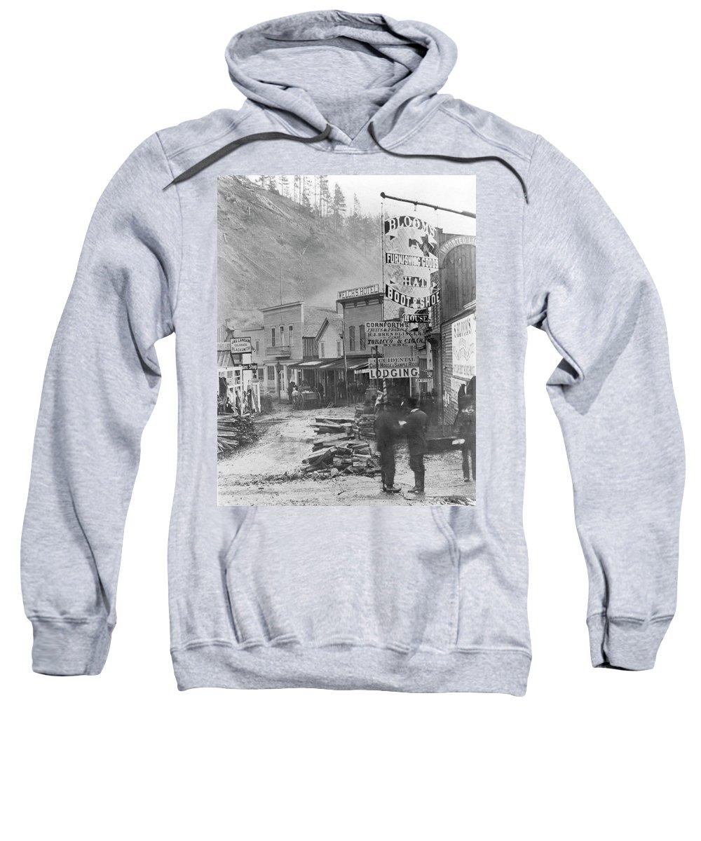 1877 Sweatshirt featuring the photograph Deadwood, South Dakota by Granger