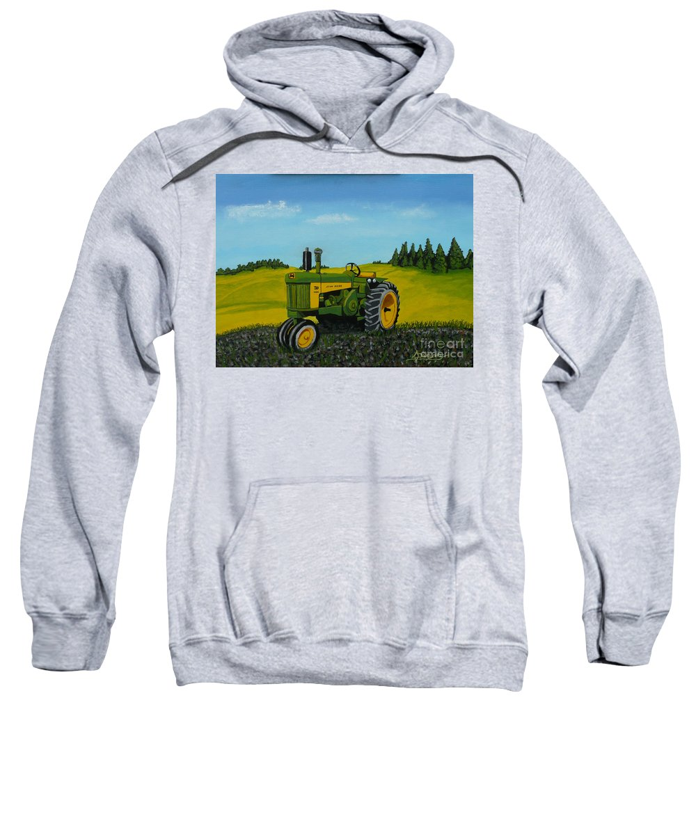 John Deere Sweatshirt featuring the painting Dear John by Anthony Dunphy