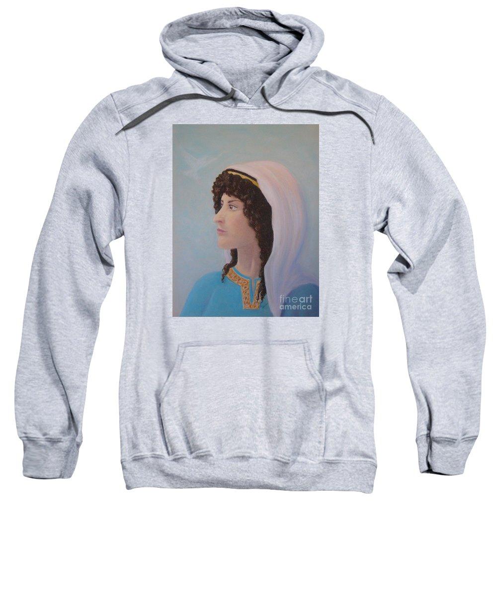 Prophetess Sweatshirt featuring the pastel Deborah  Prophetess And Judge by Lynn Quinn