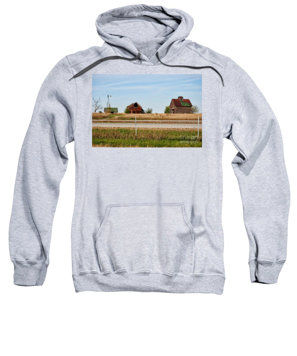 Decaying Farm Sweatshirt featuring the photograph Decaying Farm Central Il by Thomas Woolworth