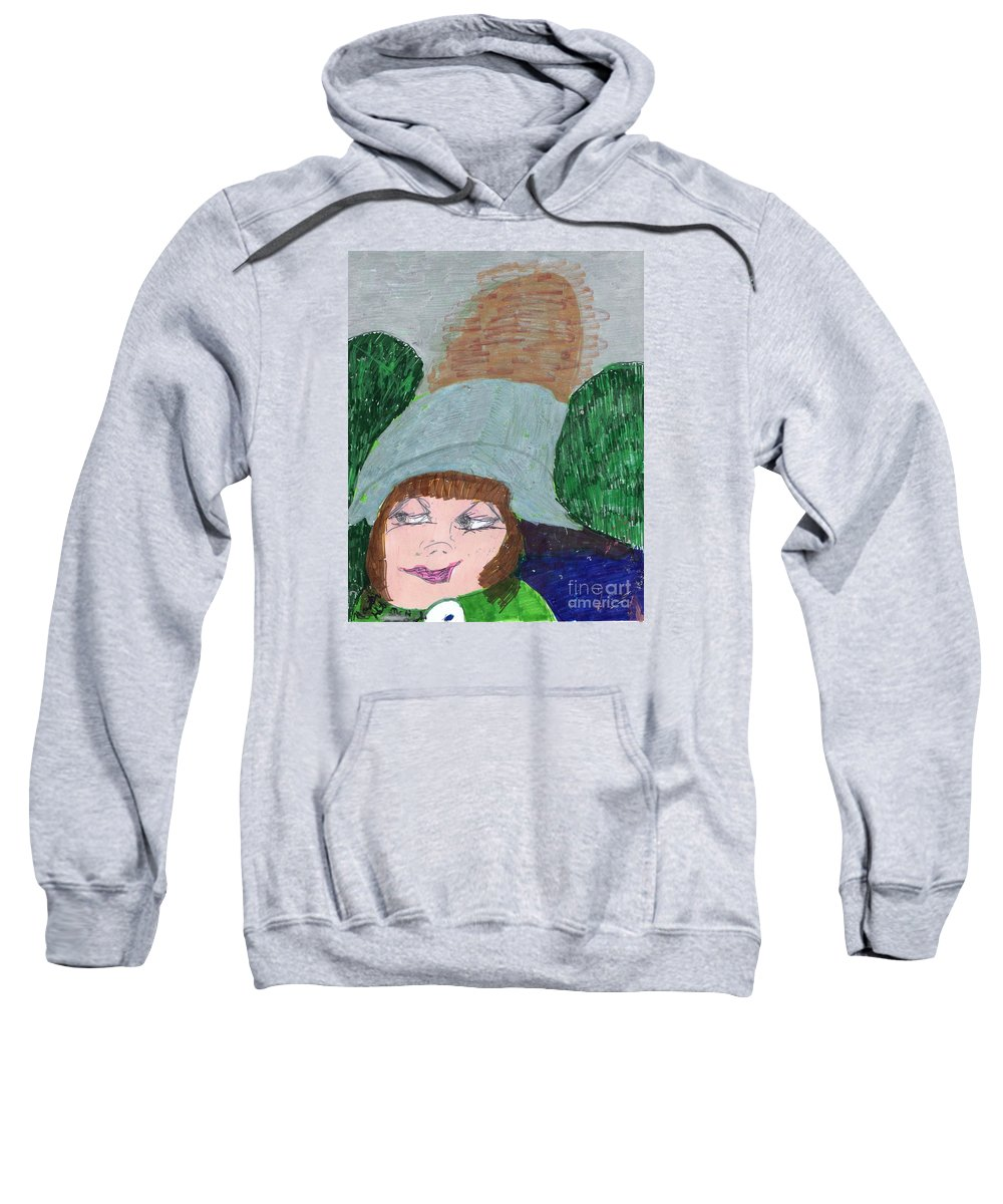 Green Outfit With Huge Green Hat Sweatshirt featuring the mixed media I Have A Secret To Tell by Elinor Helen Rakowski