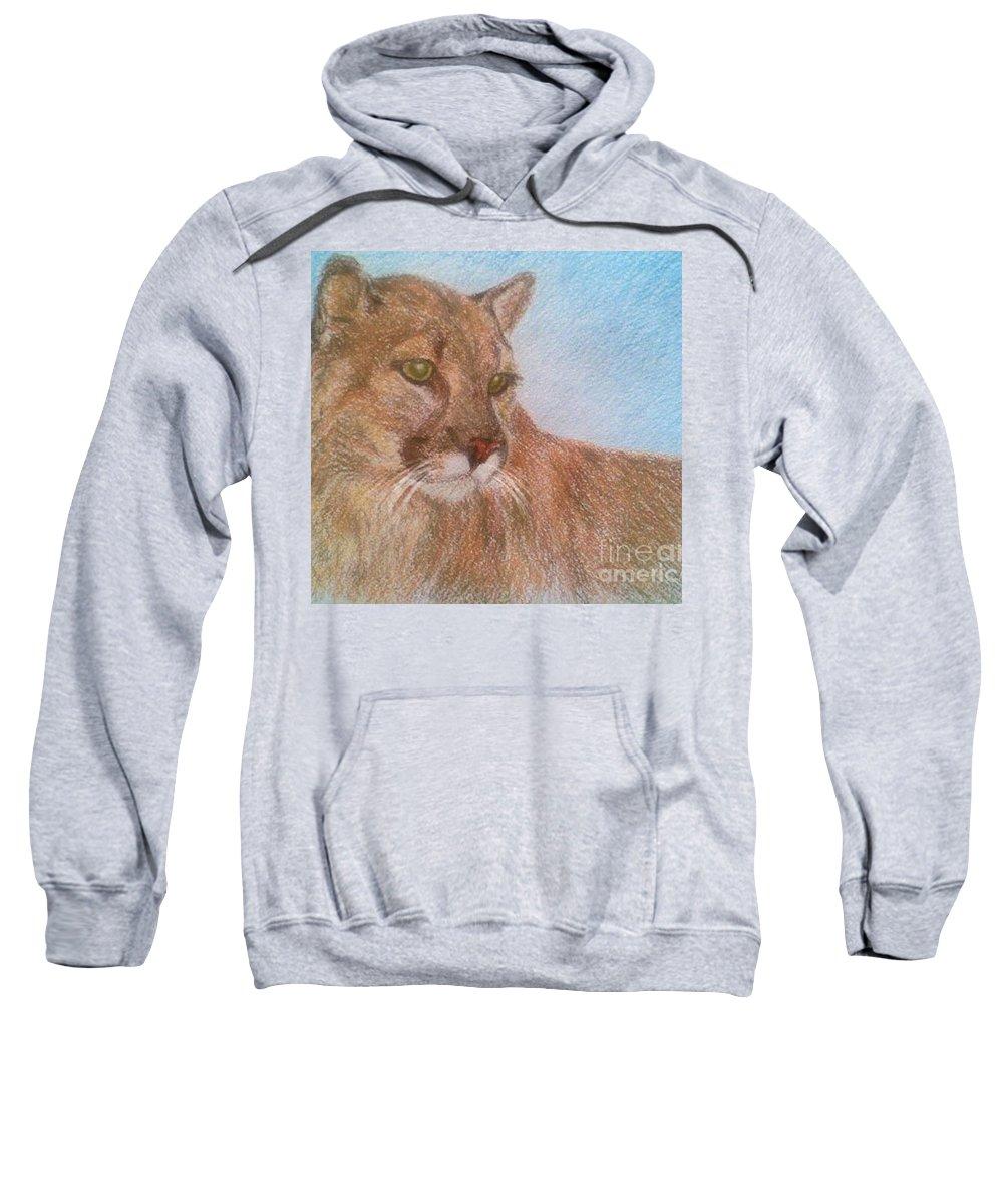 Deer Tiger Soft Pastel Drawing Paper Wild Cat Sweatshirt featuring the drawing Deer Tiger by Nadi Sabirova