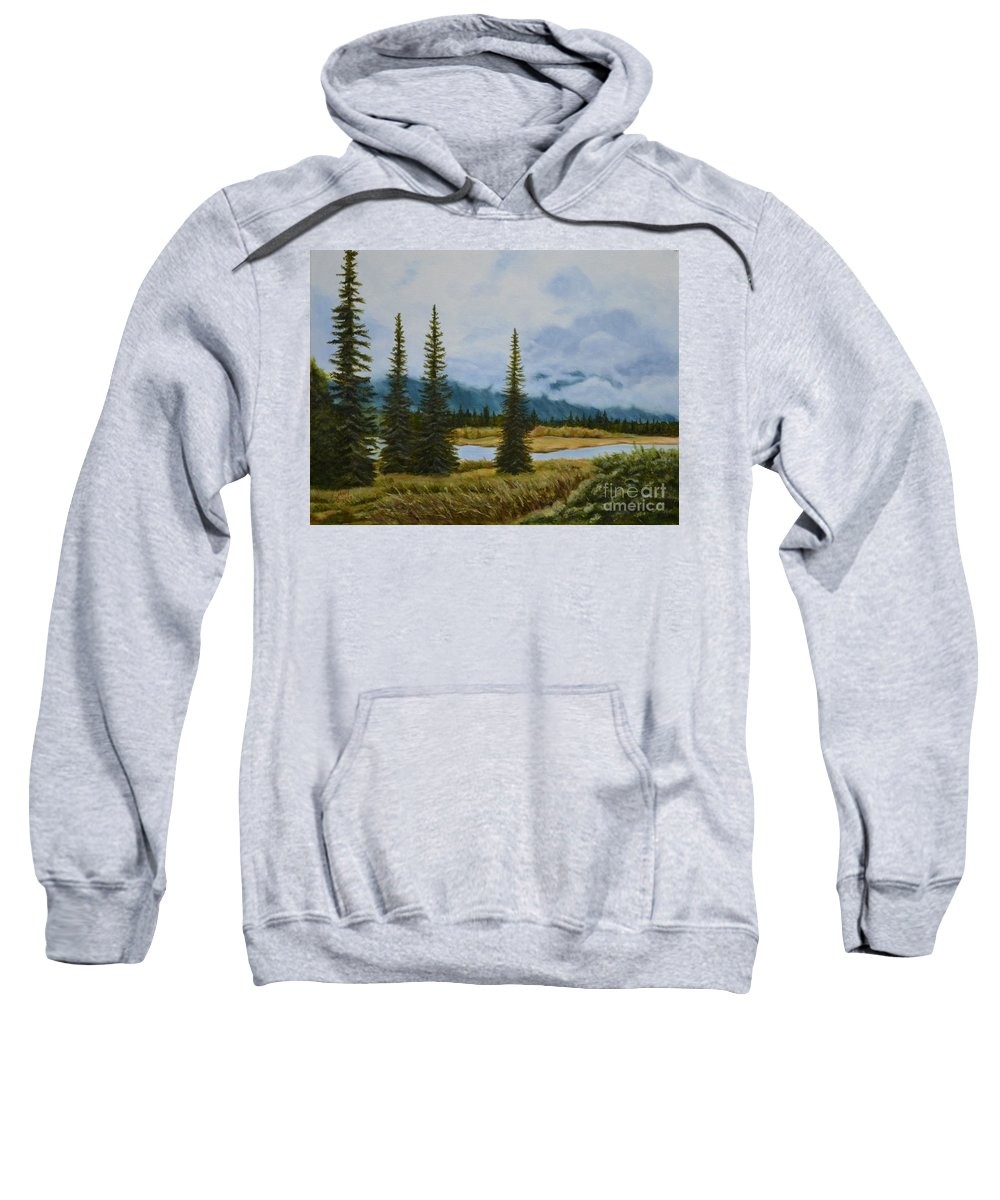 Usa Sweatshirt featuring the painting Denali Morning by Mary Rogers