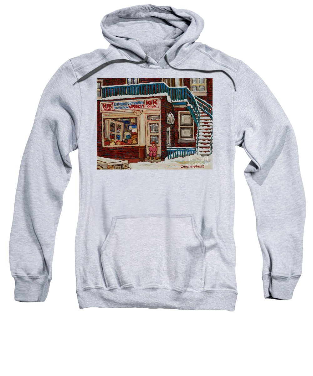 Montreal Depanneur Paintings Sweatshirt featuring the painting Depanneur Kik Cola Montreal by Carole Spandau