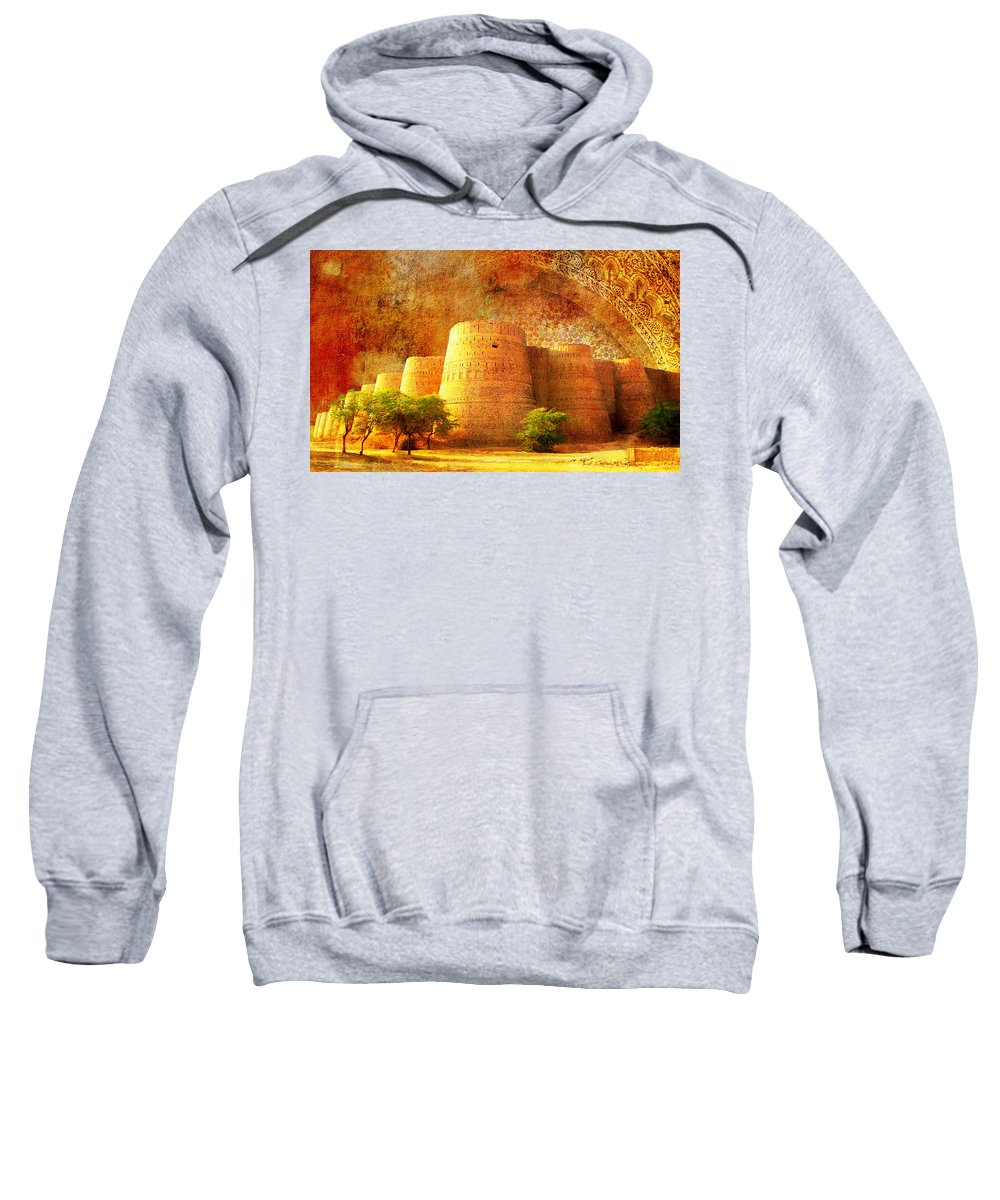 Pakistan Sweatshirt featuring the painting Derawar Fort by Catf