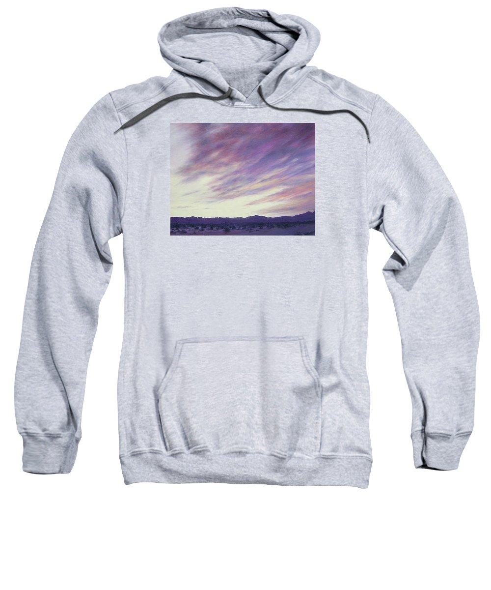 Desert Sweatshirt featuring the painting Desert Sunset by Mary Taglieri