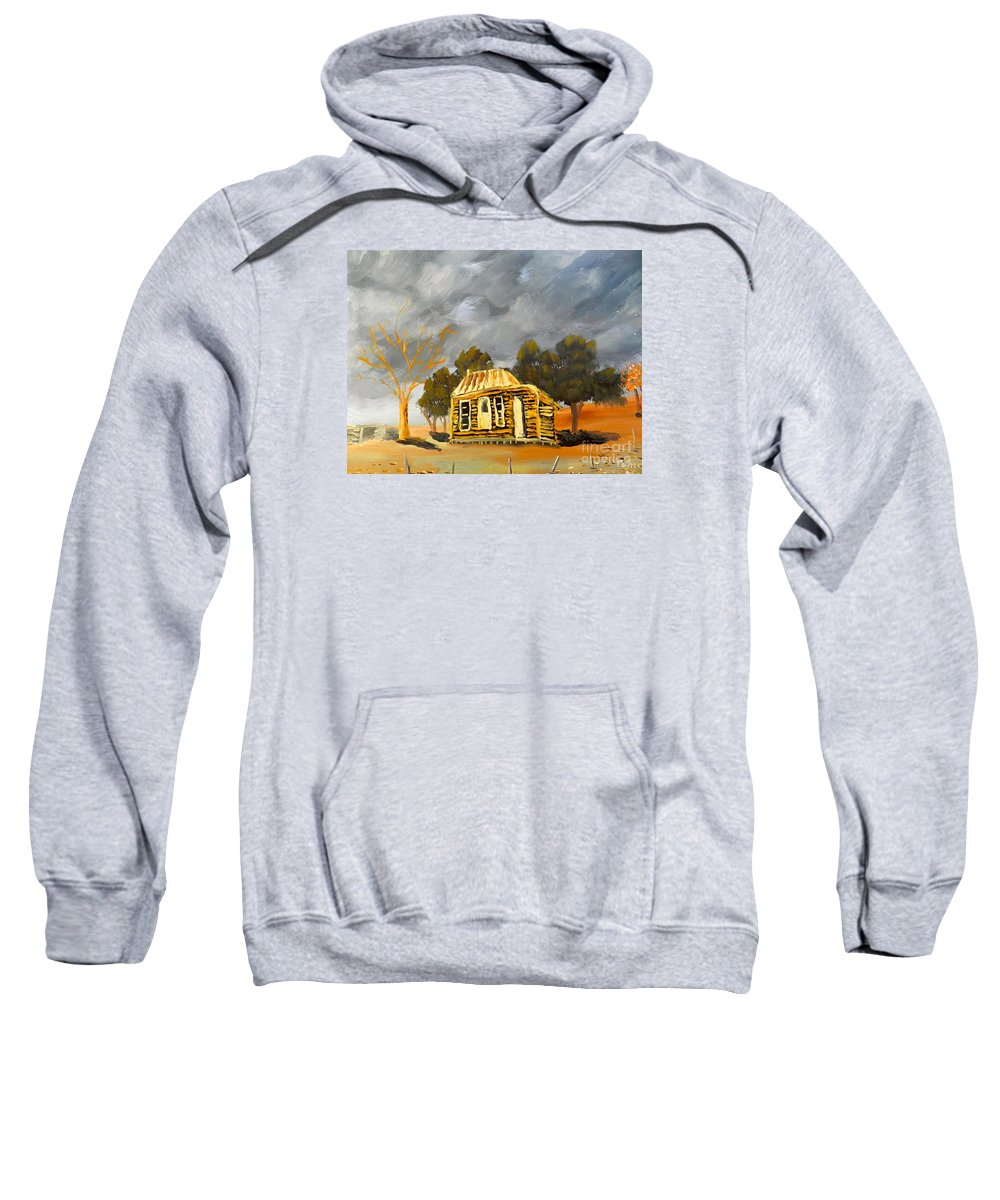 Impressionism Sweatshirt featuring the painting Deserted Castlemain Farmhouse by Pamela Meredith
