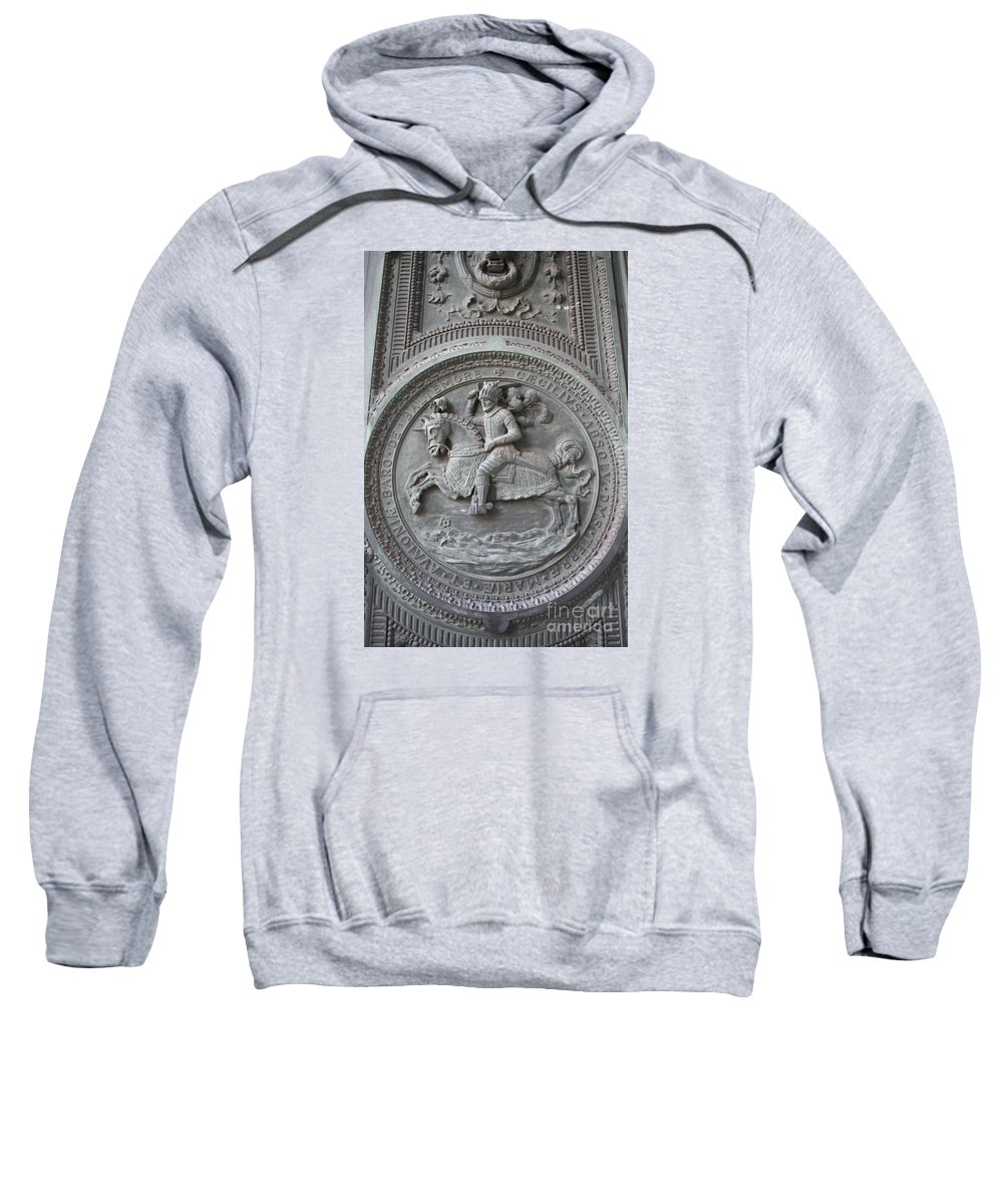 Emblem Sweatshirt featuring the photograph Detail Entrance Door Maryland State House by Christiane Schulze Art And Photography