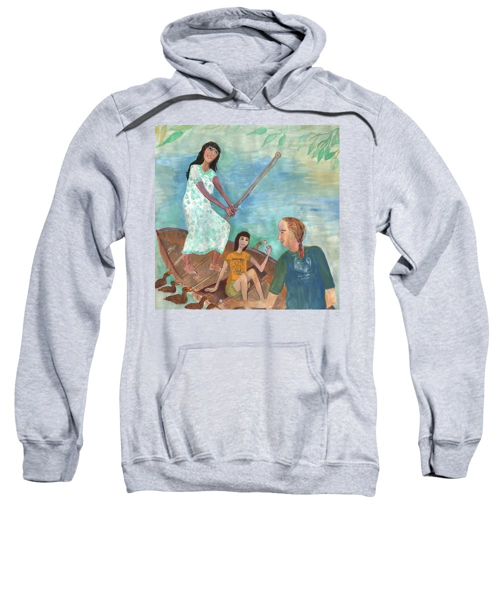Boating Sweatshirt featuring the painting Detail Of We All Went Punting by Sushila Burgess