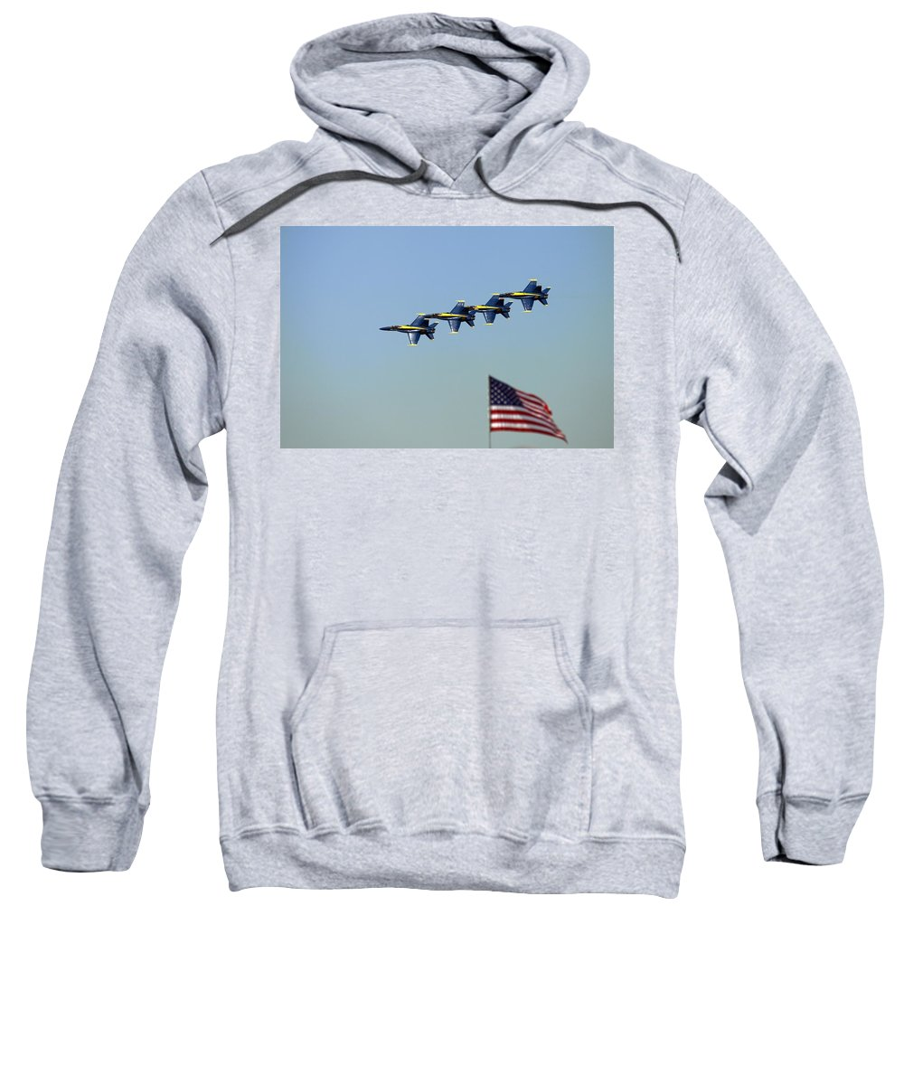 5002 Sweatshirt featuring the photograph Diamond Over The Flag by Gordon Elwell
