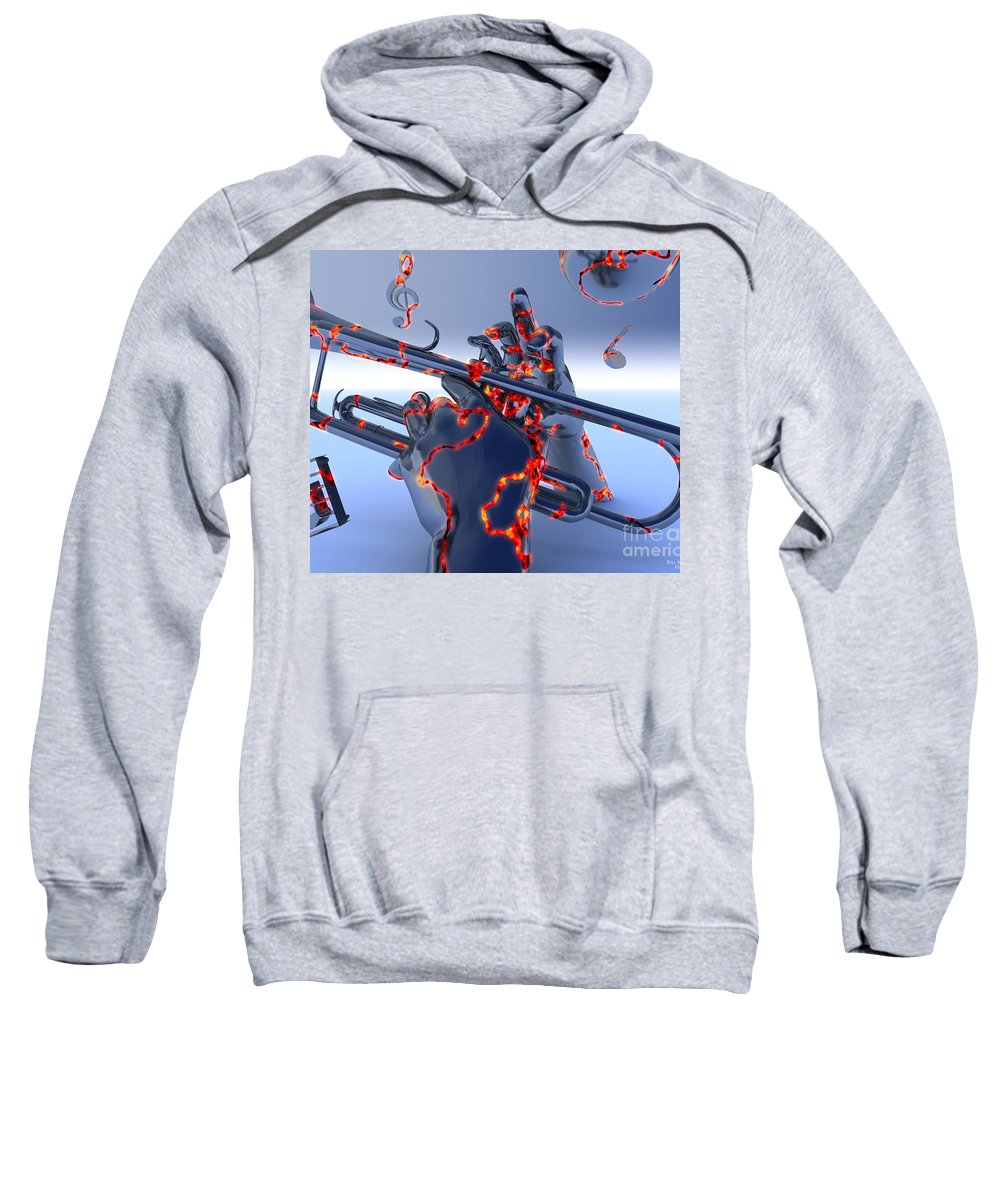 Jazz Sweatshirt featuring the digital art Digital Jazz by Eric Nagel