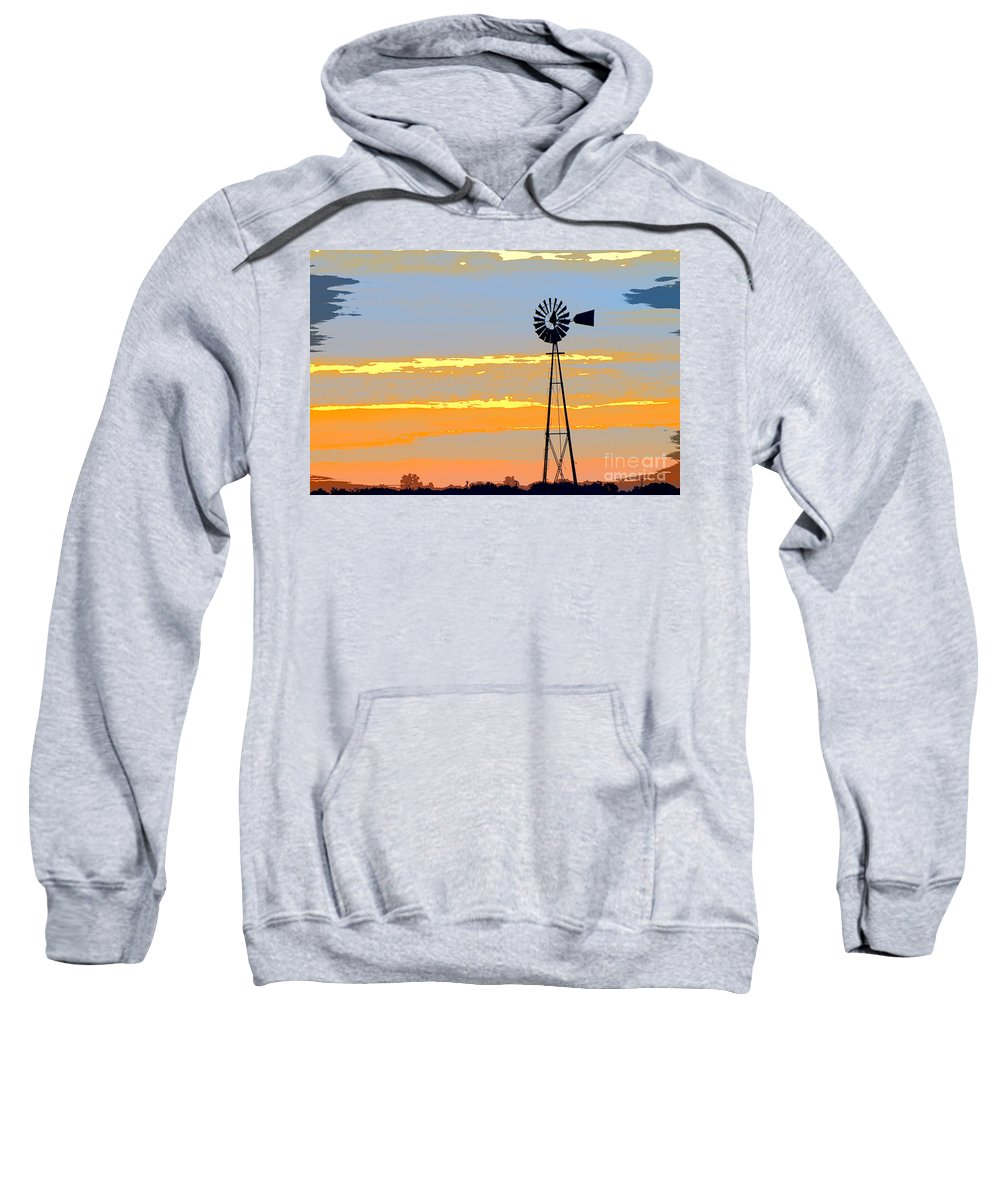 Windmill Sweatshirt featuring the photograph Digital Windmill-horizontal by Gary Richards