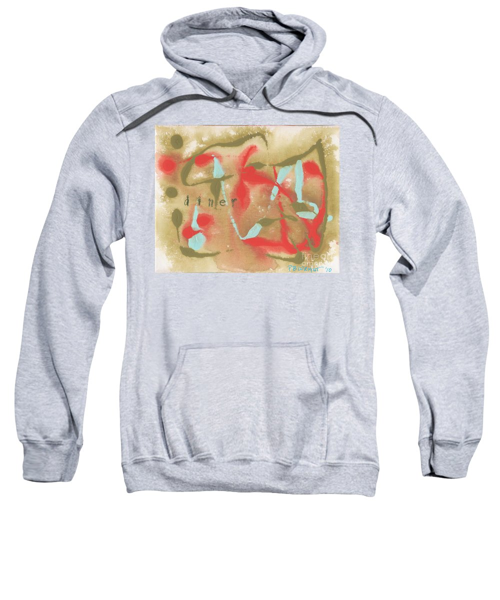 Olive Sweatshirt featuring the painting Diner by Paulette B Wright