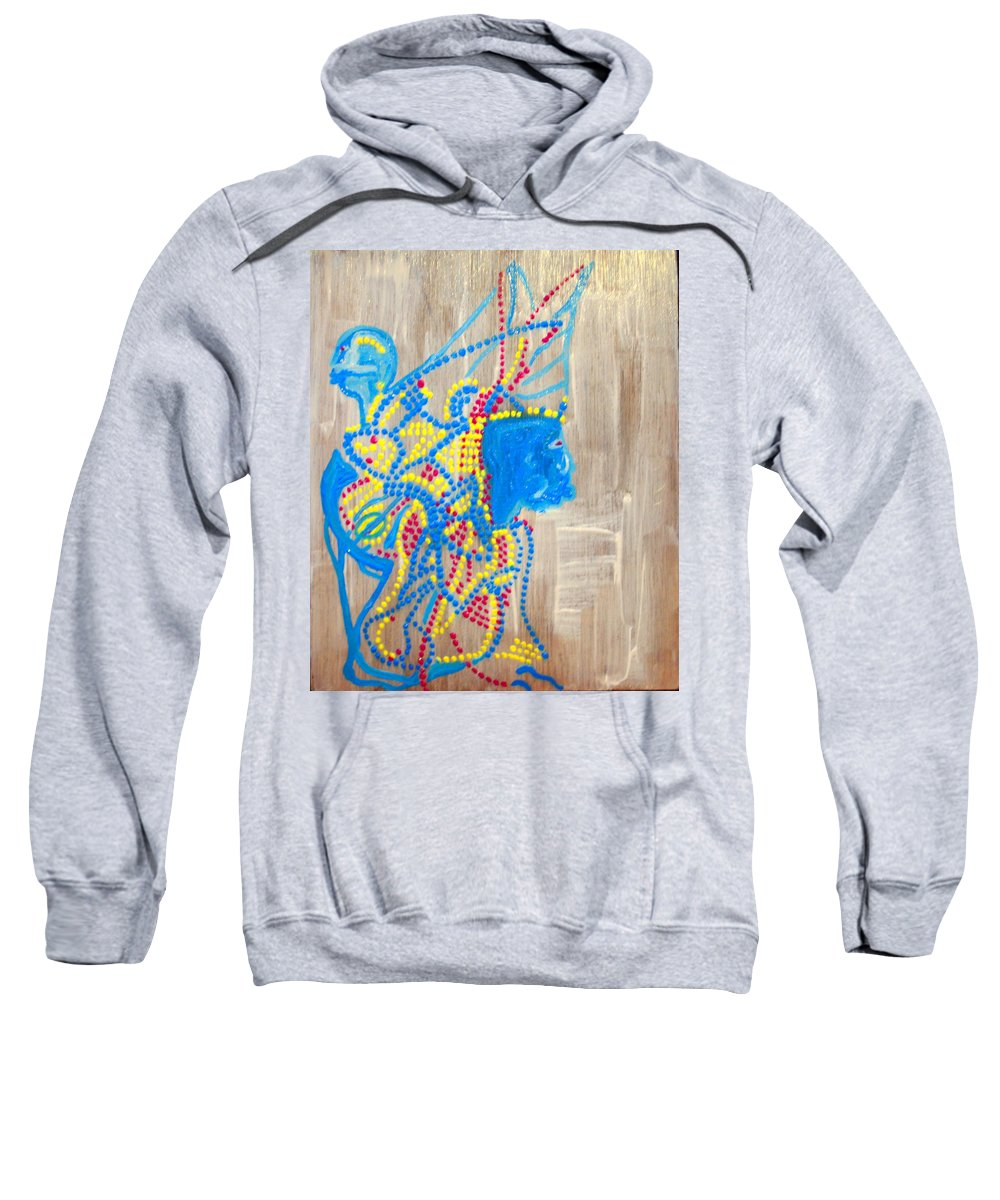 Jesus Sweatshirt featuring the painting Dinka Angel Bride - South Sudan by Gloria Ssali