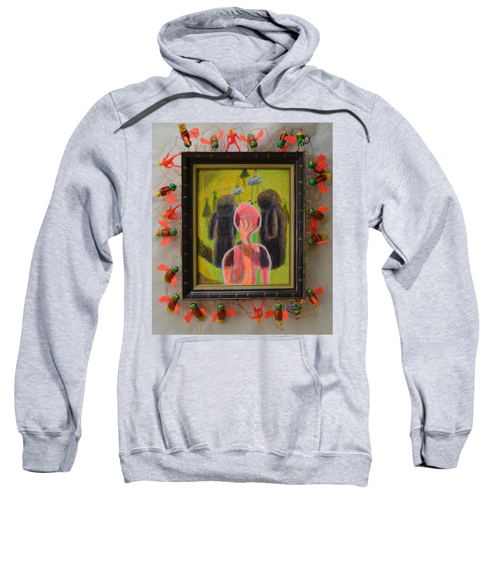 Abstract Modern Outsider Raw Figures People Red Green Stone Bugs Beads Folk Person Yellow Pink Brown Black White Shadow Person Shadows Sweatshirt featuring the painting Disappearance Of The Woman And Her Own Two Stone Children With Clouds On Wheels - Framed by Nancy Mauerman