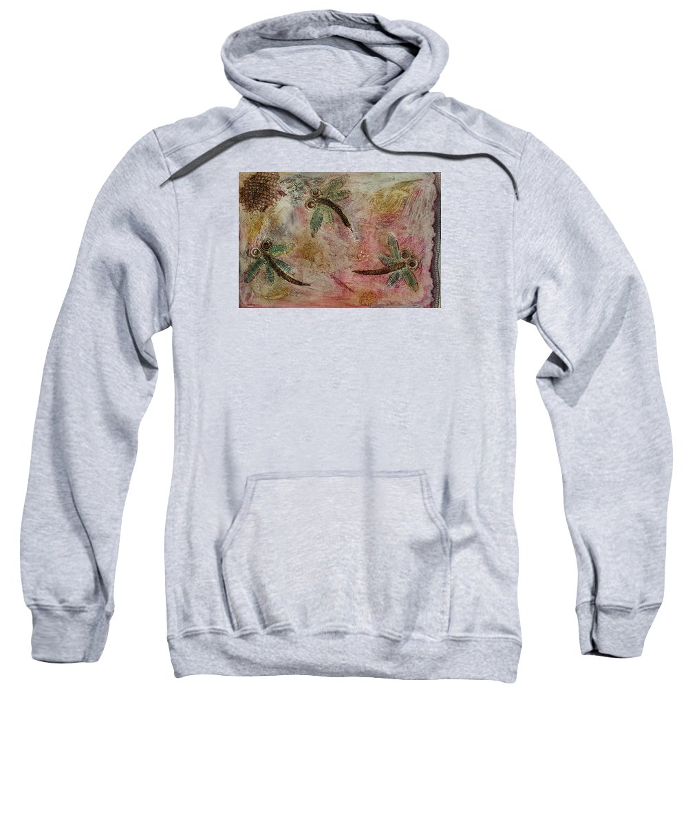 Dragonfly Sweatshirt featuring the painting Rustic Dragonflies Pinks by Lyndsey Hatchwell