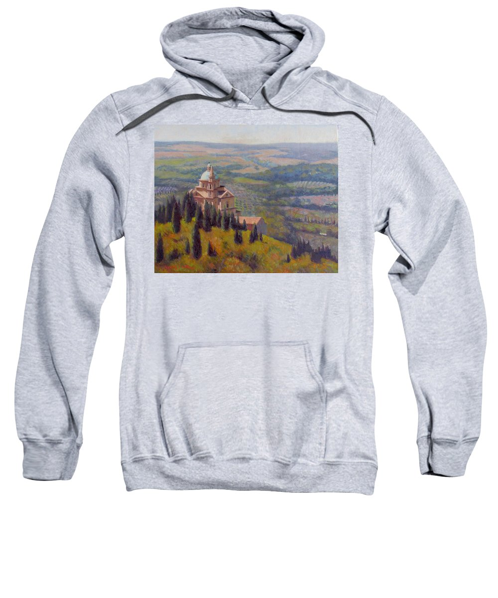 Montepulciano Sweatshirt featuring the painting Divinity by Dianne Panarelli Miller