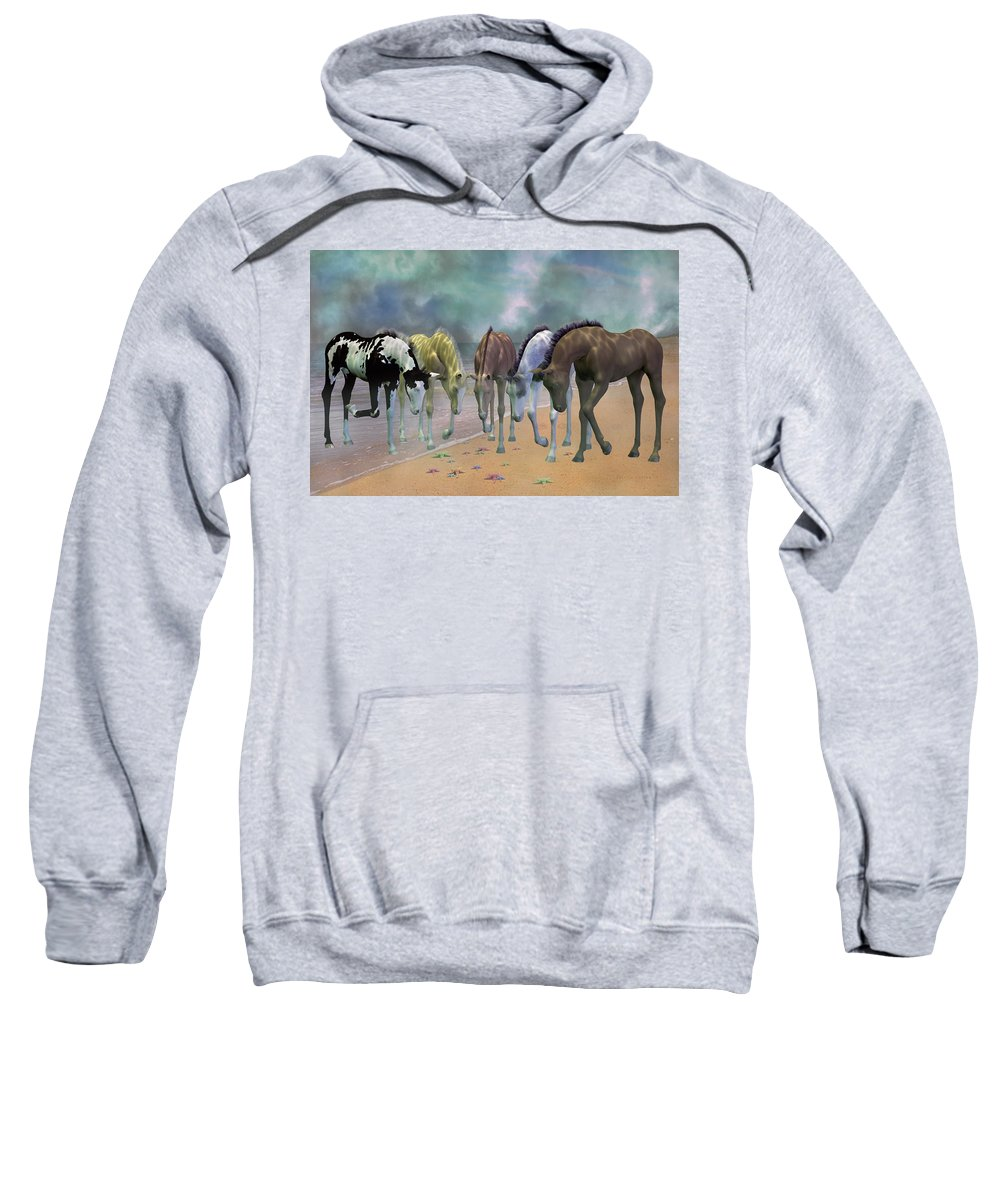 Beach Sweatshirt featuring the mixed media Do You See Stars by Betsy Knapp