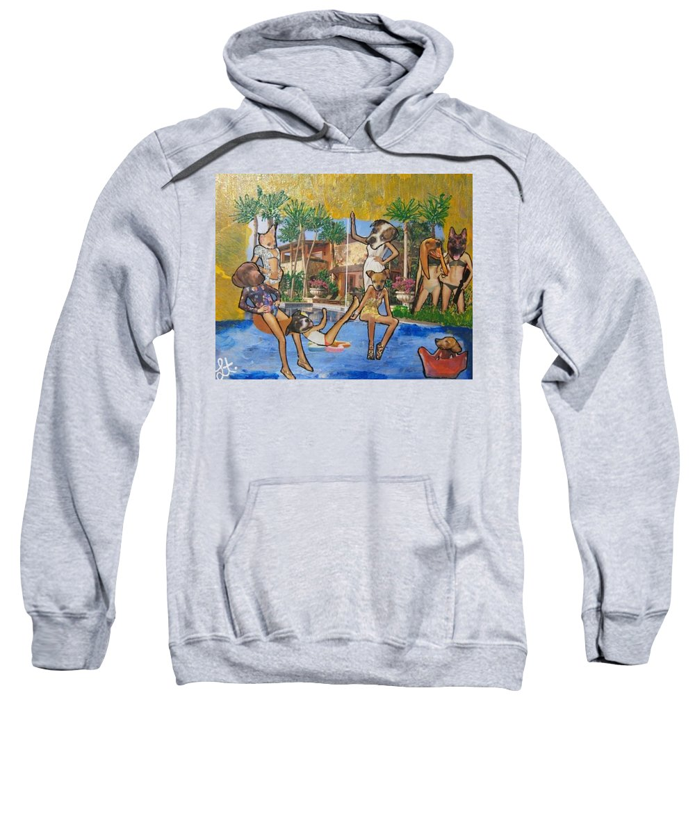Dogs Sweatshirt featuring the painting Dog Days Of Summer by Lisa Piper