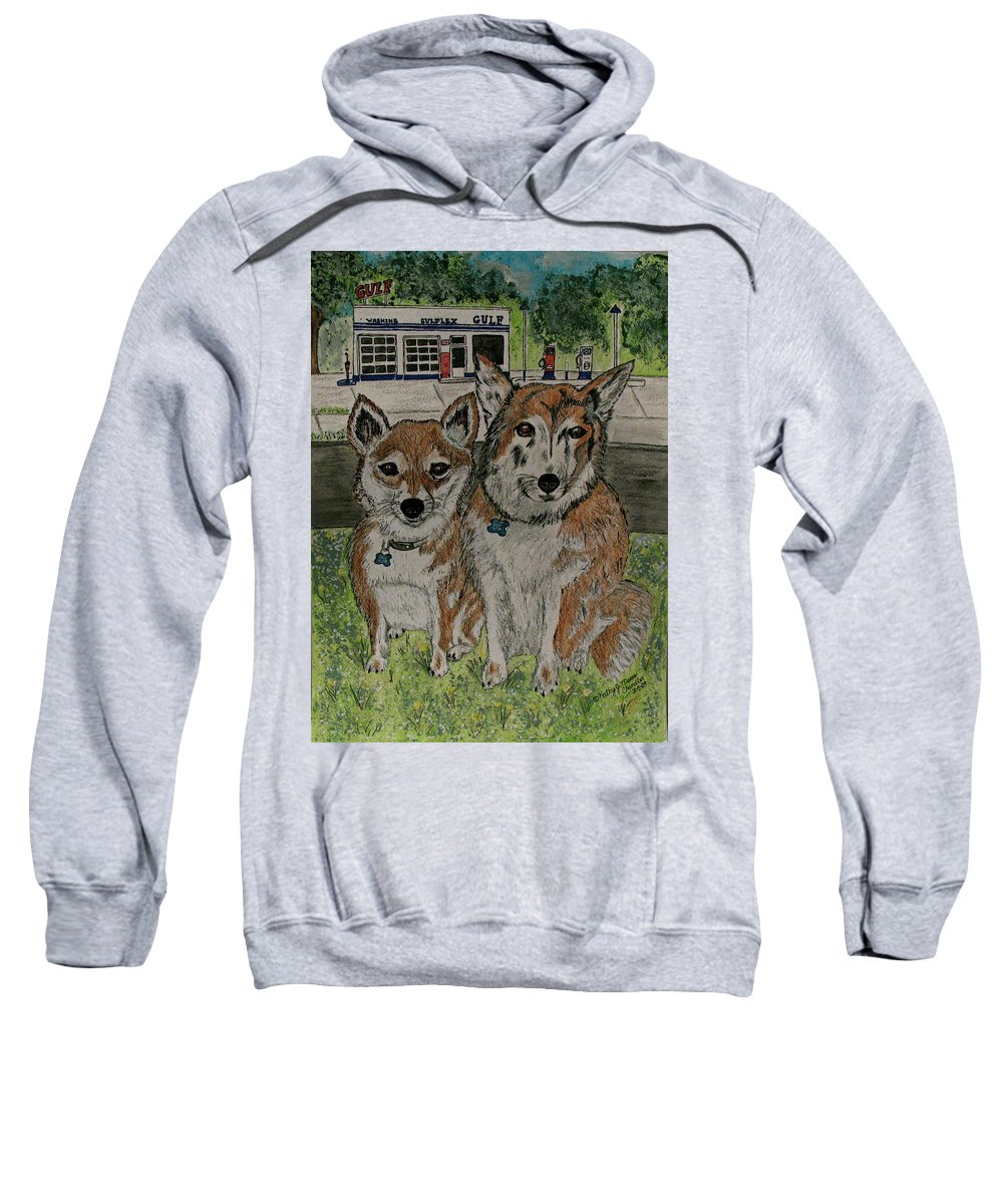Dogs Sweatshirt featuring the painting Dogs In Front Of The Gulf Station by Kathy Marrs Chandler