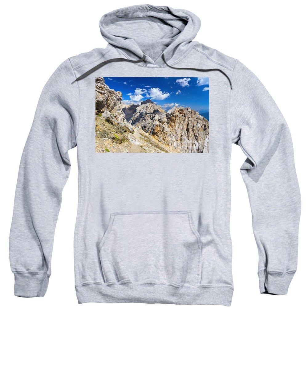 Alpine Sweatshirt featuring the photograph Dolomiti - Costabella Mount by Antonio Scarpi