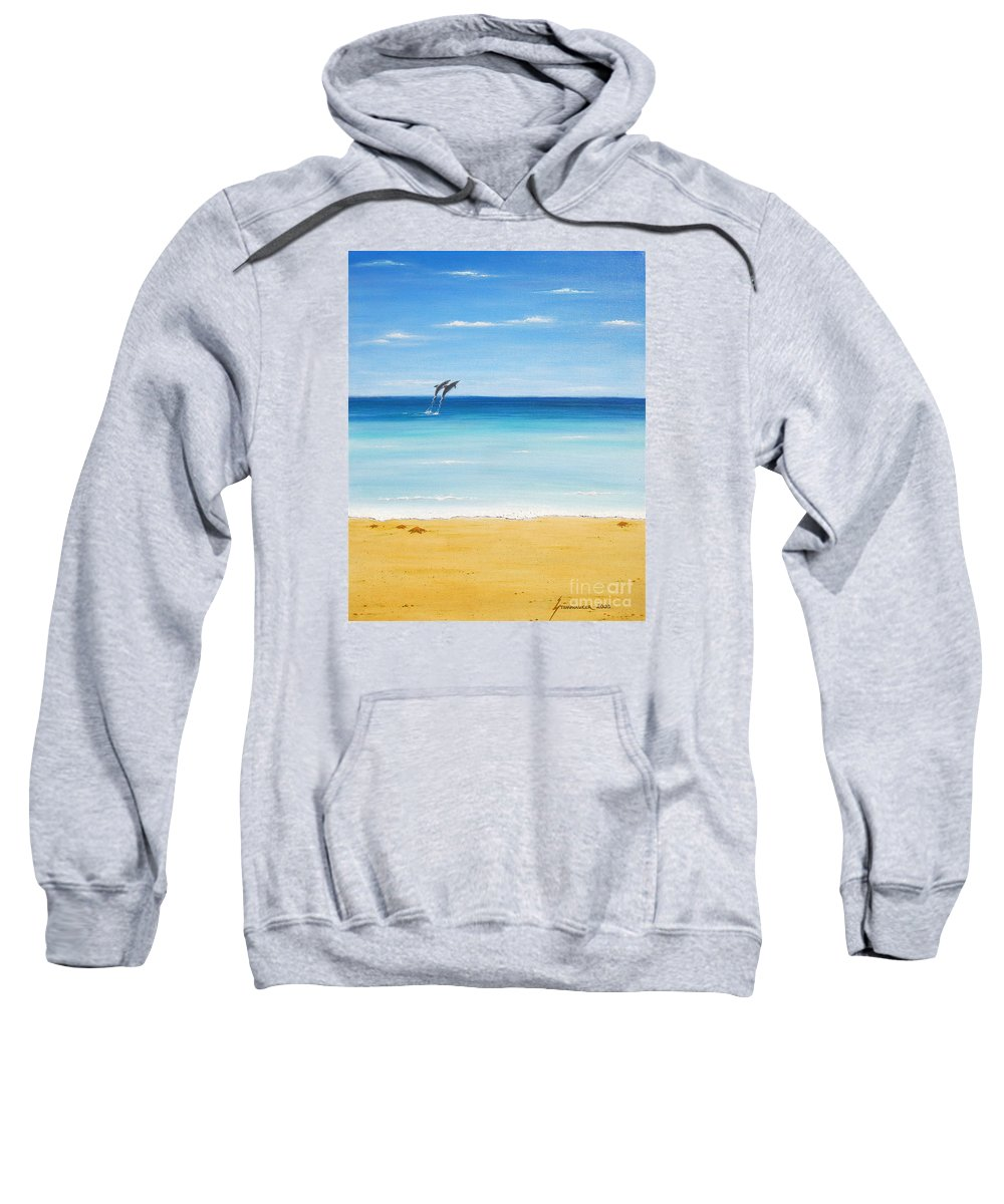 Dolphins Sweatshirt featuring the painting Dolphin Beach by Jerome Stumphauzer