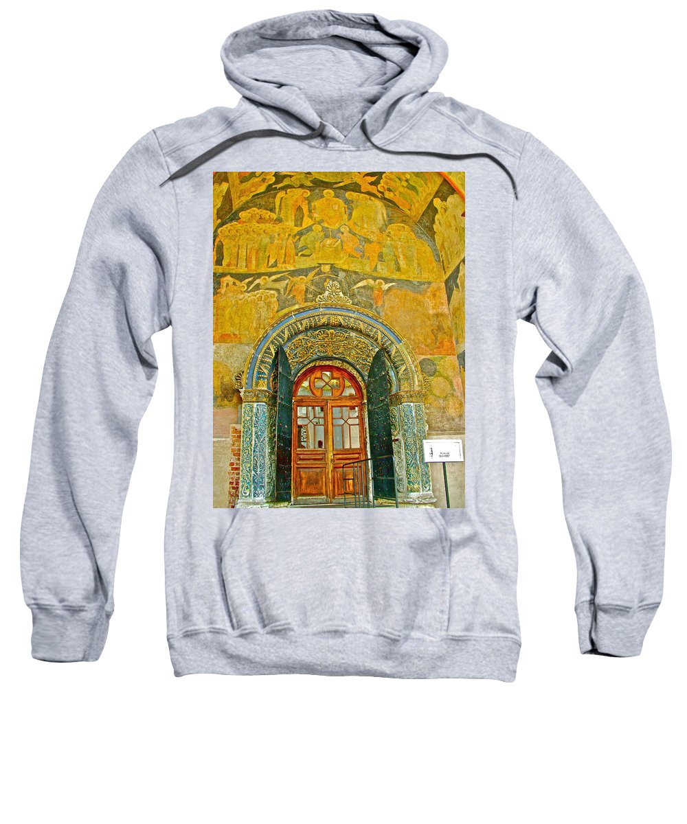 Doorway Entry To Cathedral Of The Archangel Inside The Kremlin Wall In Moscow Sweatshirt featuring the photograph Doorway Entry To Cathedral Of The Archangel Inside Kremlin Walls In Moscow-russia by Ruth Hager