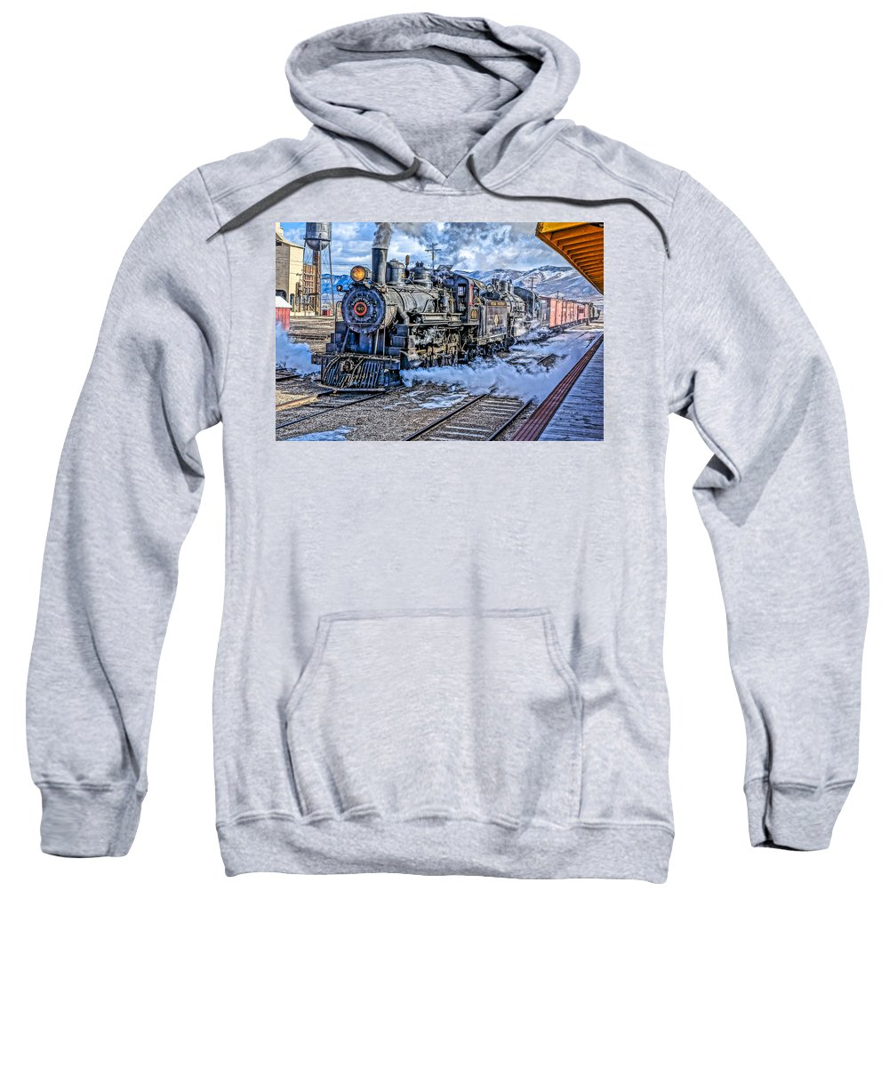 Train Sweatshirt featuring the photograph Double Header Nevada Northern Railway #1 by Tom and Pat Cory