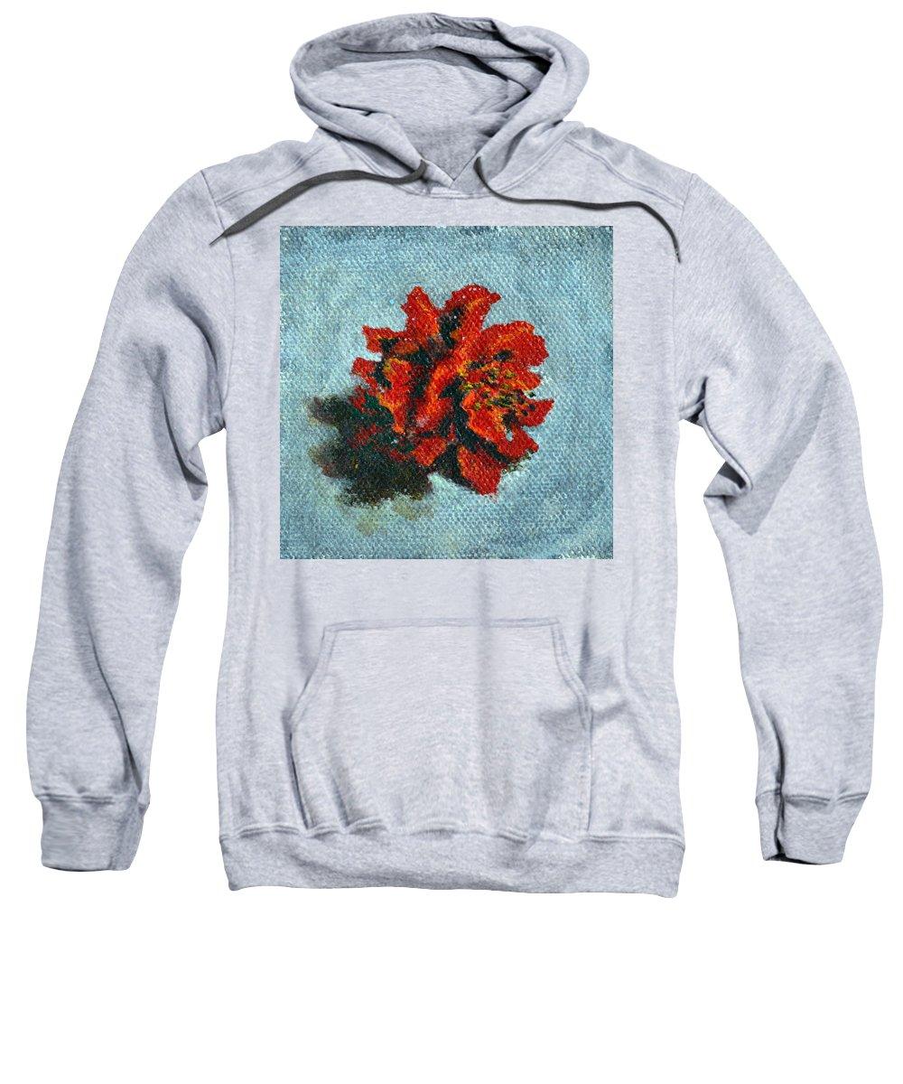 Double Sweatshirt featuring the painting Double Hibiscus by Usha Shantharam